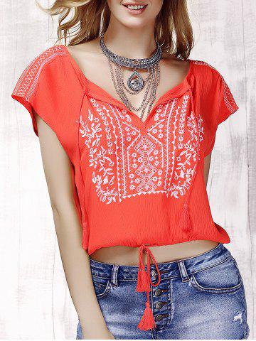 Shops Stylish V-Neck Embroidered Short Sleeve Drawsting Crop Top For Women