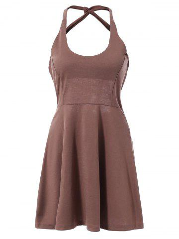 Discount Fashionable Sleeveless Hollow Out Solid Color Backless Women's Dress DEEP BROWN M