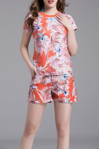 Store Round Collar Printed T-Shirt and Shorts