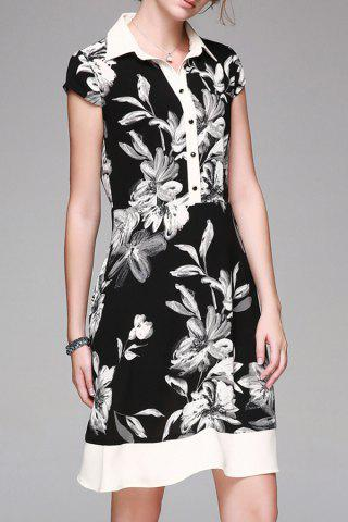 Sale Single-Breasted Floral Print Dress