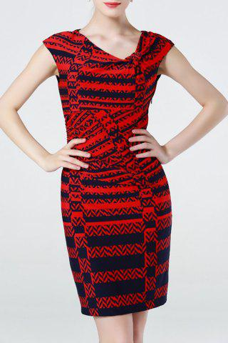 Affordable Wrapped Geometric Print Dress