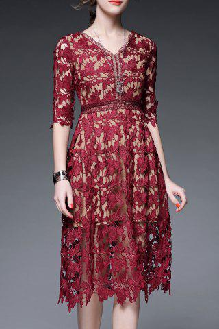 V Neck Solid Color Hollow Out Dress - Wine Red - M
