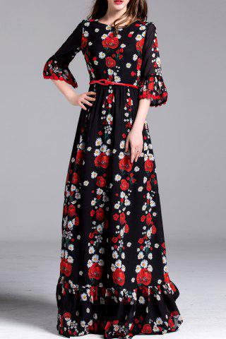 Store Floral Print Belted Maxi Dress