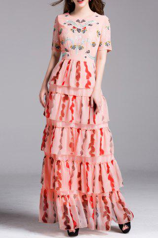 Discount Embroidered Maxi Pleated Dress