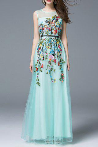 Chic Flower Embroidered Maxi Evening Tulle Dress