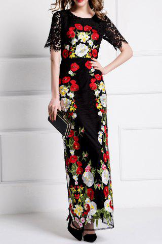 Latest Flower Embroidered Bodycon Evening Dress