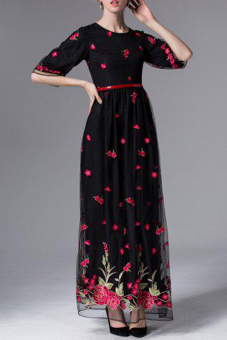 Shops Floral Embroidered Half Sleeve Maxi Dress