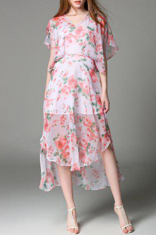 Buy Batwing Sleeve Chiffon Floral Dress