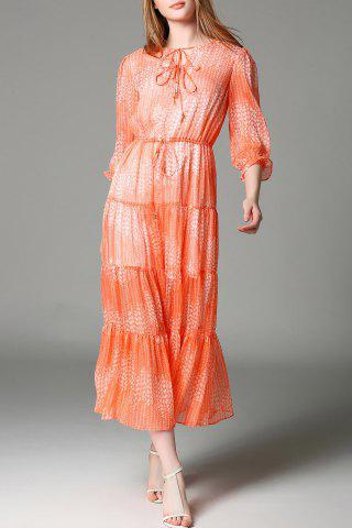 Trendy Tiny Floral Tiered Maxi Dress in Orange