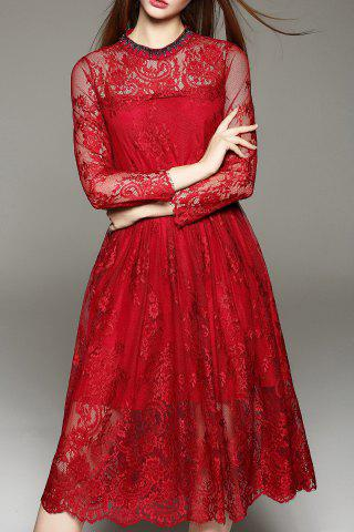 New Lace Tea Length A Line Party Swing Dress WINE RED XL