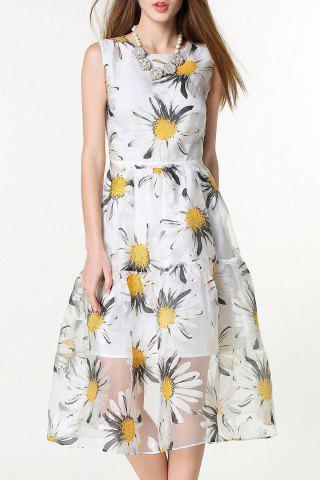 Trendy Sleeveless Floral Print White Sundress