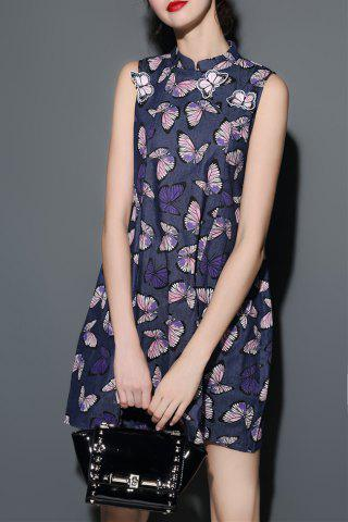 Fashion Stand Collar Butterfly Print Denim Dress
