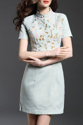 Fashion Mandarin Collar Floral Embroidered Bodycon Dress