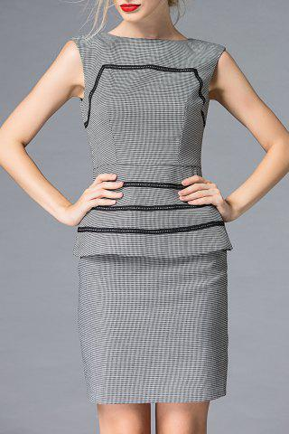 Outfits Boat Neck Houndstooth Bodycon Mini Dress