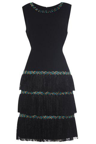Outfit Embroidered Tiered Lace Black Dress
