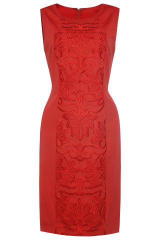 Best Sleeveless Embroidered Front Red Dress