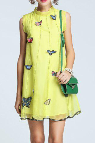 Large NEON GREEN Butterfly Embroidery Sleeveless Organza Dress