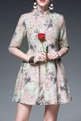 Cheap Mandarin Collar Floral Print Cheongsam Dress