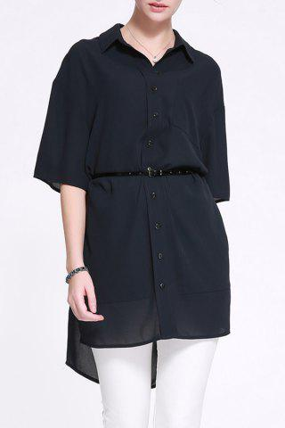 Latest Fitting Solid Color Shirt Dress
