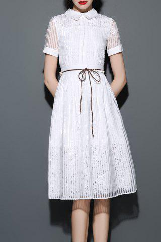 Store Flat Collar Stripe Shirt Dress