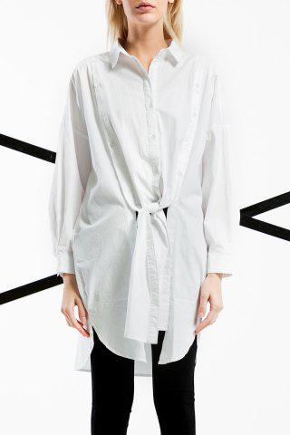 Chic Tied Solid Color Long Shirt