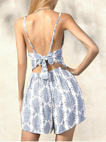 Cheap Stylish Sleeveless Waisted Printed Romper For Women