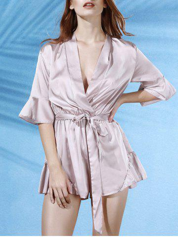 Affordable Trendy V-Neck Butterfly Sleeve Flouncing Spliced Wrap Romper For Women APRICOT XL