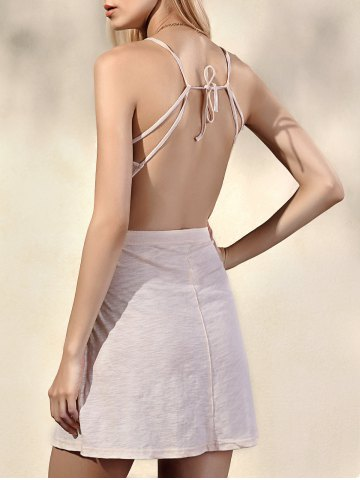 Affordable Trendy Spaghetti Straps Sleeveless Backless Solid Color Women's Dress