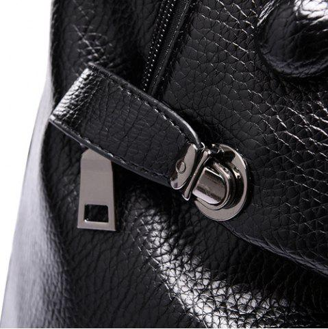 Shop Stylish Solid Colour and Buttons Design Satchel For Women - BLACK  Mobile