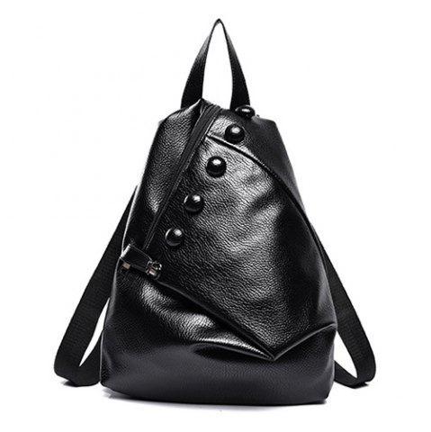 Shops Stylish Solid Colour and Buttons Design Satchel For Women BLACK