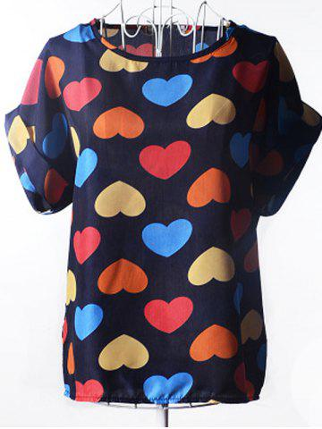 Chic Trendy Plus Size Scoop Neck Colorful Heart Pattern Blouse For Women CADETBLUE S