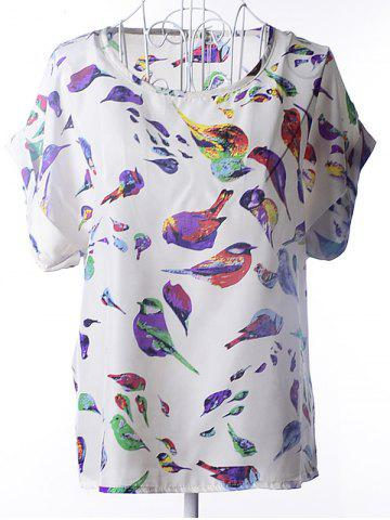 Latest Simple Plus Size Scoop Neck Bird Pattern Blouse For Women