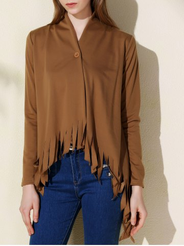 Stylish Solid Color One-Buttoned Long Sleeve Tassel Irregular Cardigan For Women - DARK KHAKI - XL
