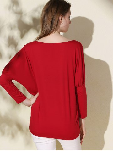 Best Simple Scoop Neck Solid Color Long Sleeve T-Shirt For Women - XL RED Mobile