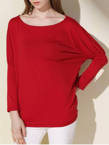 Discount Simple Scoop Neck Solid Color Long Sleeve T-Shirt For Women - XL RED Mobile