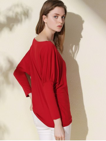 Unique Simple Scoop Neck Solid Color Long Sleeve T-Shirt For Women - XL RED Mobile