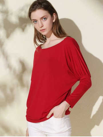 Affordable Simple Scoop Neck Solid Color Long Sleeve T-Shirt For Women - XL RED Mobile