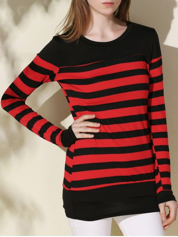 Long Sleeve Striped Tunic Tee - Black And Red - Xl