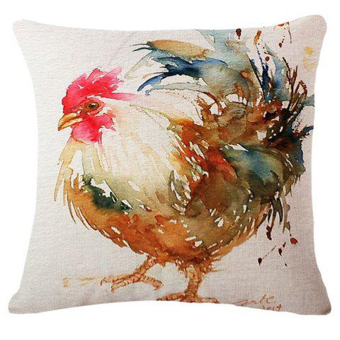 Discount Fashion Rooster Oil Painting Pattern Square Shape Pillowcase (Without Pillow Inner)