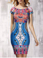 Novelty Off-The-Shoulder Short Sleeves Printed Sheath Dress For Women