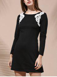 Stylish Round Collar Long Sleeve Patch Lace Design Dress For Women -