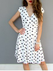 Sexy Career High Waist Short Sleeve Polka Dot Skater Dress - WHITE