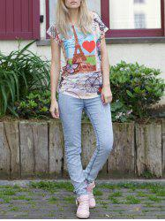 Casual Scoop Neck Tower Print Short Sleeve T-Shirt For Women
