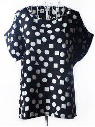 Trendy Plus Size Scoop Neck Geometric Pattern Blouse For Women - BLACK