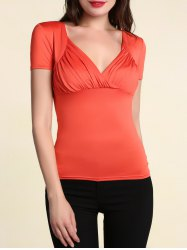 Stylish Women's Pure Color V Neck Short Sleeve T-Shirt -