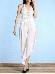 Stylish Women's Open Back Plunging Neck Furcal Jumpsuit -