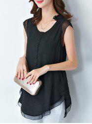 Graceful V-Neck Button Design Embroidered Short Sleeve Women's Blouse -