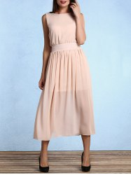 Open Back Round Neck Sleeveless Bridesmaid Dress - APRICOT