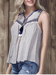 Ethnic V-Neck Embroidered Striped Top For Women -