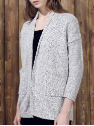Collarless Long Sleeve Pocket Design Knit Cardigan - GRAY